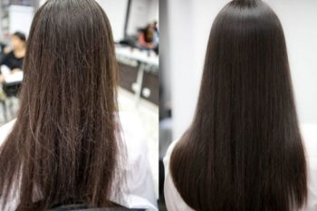 Волосы до и после полировки